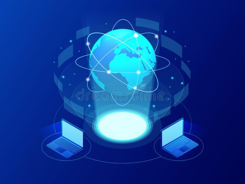 Het mondiale communicatie net van Internet rond de planeet Netwerk en gegevensuitwisseling over planeet Verbonden satellieten voo stock illustratie