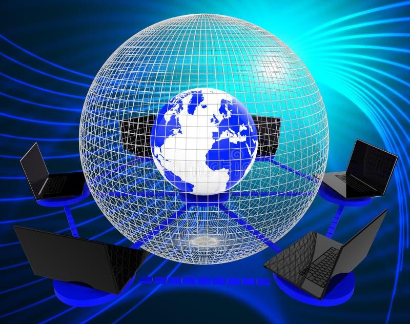 Het mondiale Computernet wijst op Planeet en Bewerker Wereldwijd vector illustratie