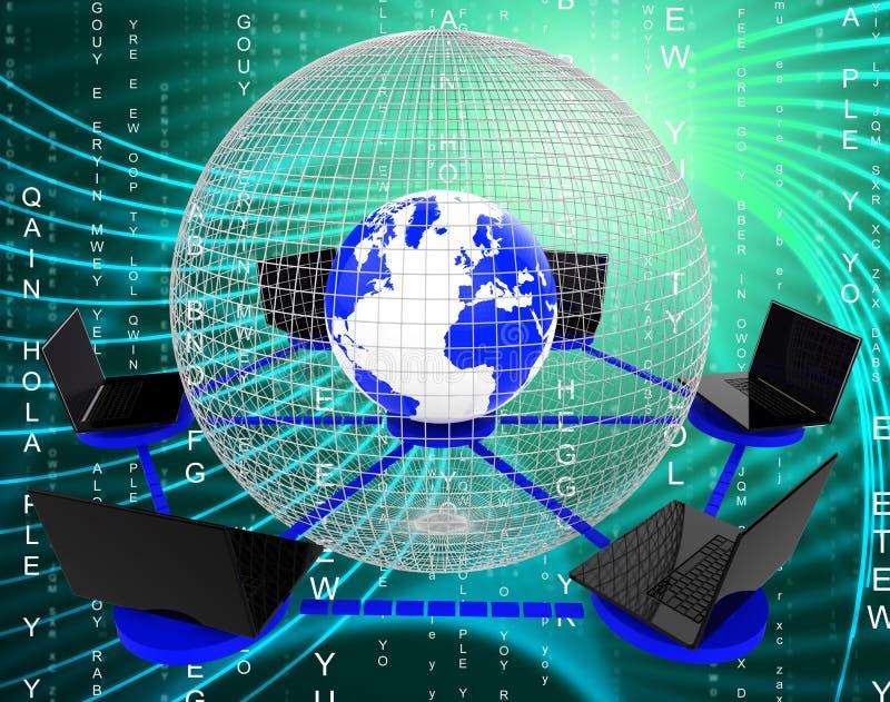 Het mondiale Computernet wijst Voorzien van een netwerk op Monitor en Worldwi vector illustratie