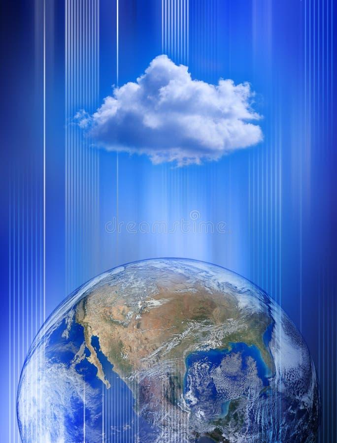 Het mondiale Net van de Gegevensverwerking van de Wolk royalty-vrije illustratie