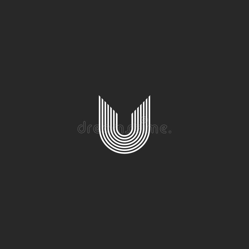 Het monogram creatief idee van het brievenu embleem Het dunne element van het de kunstontwerp van de lijnentypografie Aanvankelij royalty-vrije illustratie
