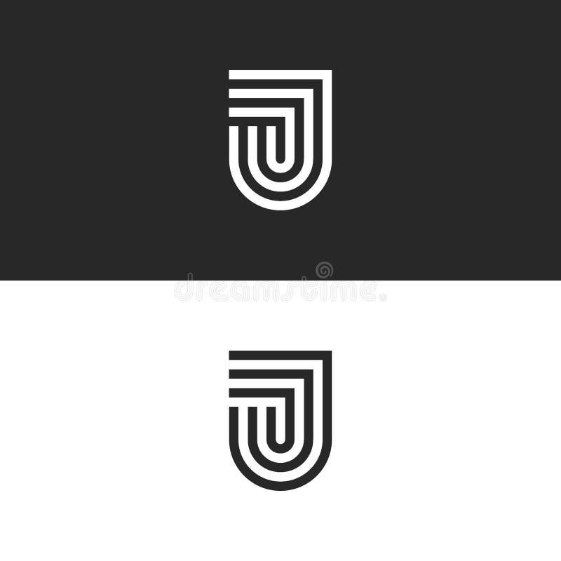 Het monogram van het brievenj embleem in de vorm van een schild, modieus lineair ontwerp paraferen JJJ-embleem in een minimalisti stock illustratie