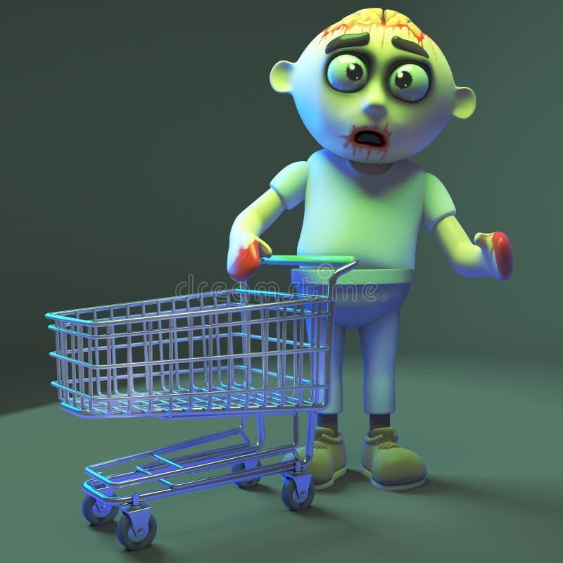 Het monster die van de klantenzombie met zijn leeg het winkelen karretje, 3d illustratie lopen stock illustratie