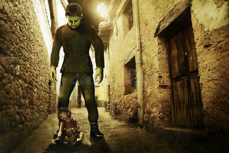 Het Monster en het meisje van Frankenstein vector illustratie