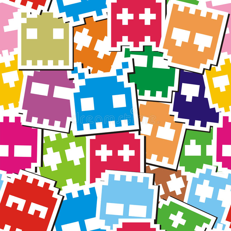 Het monster naadloos patroon van het pixel stock afbeeldingen