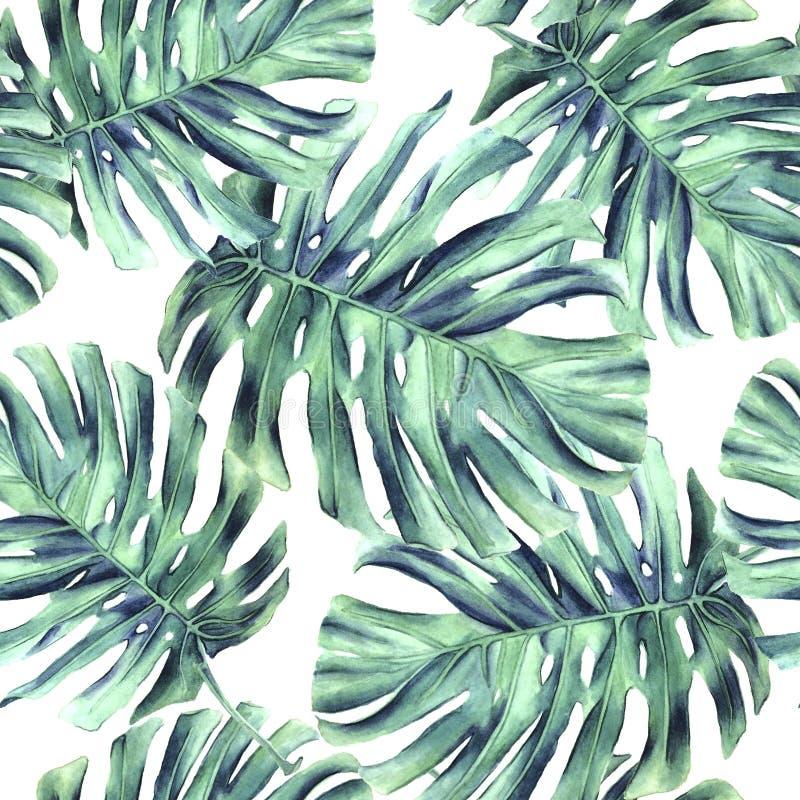 Het monster naadloos patroon van struikgewasbladeren royalty-vrije illustratie