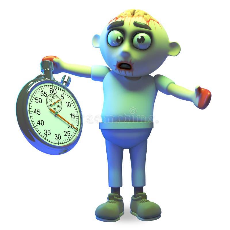Het monster van de beeldverhaal undead zombie maakt zich over tijd met zijn chronometer ongerust, 3d illustratie stock illustratie