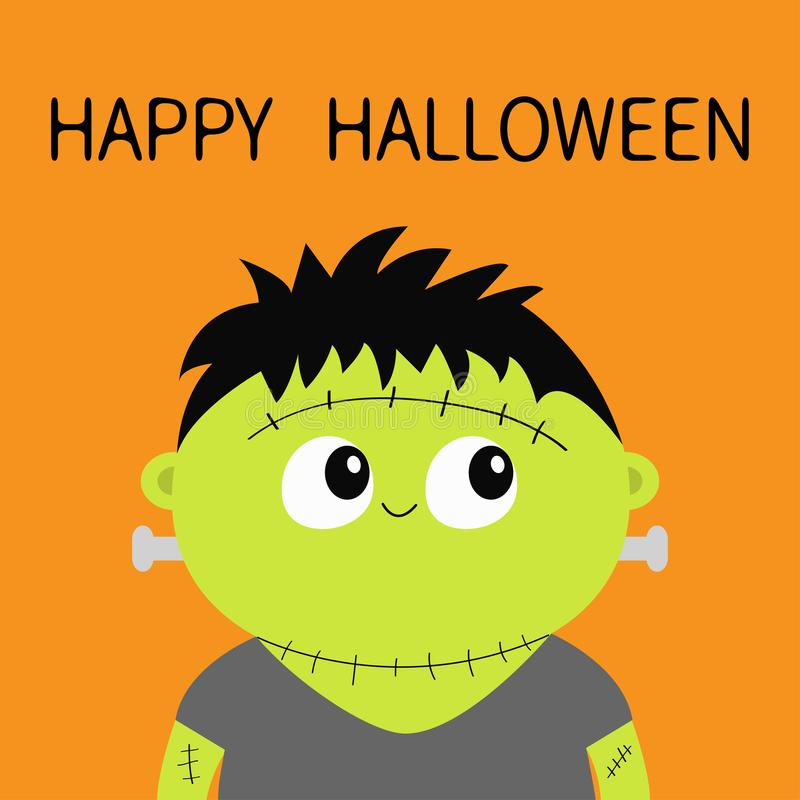 Het monster van Frankenstein Gelukkig Halloween Het leuke karakter van de beeldverhaal grappige griezelige baby Groen hoofdgezich vector illustratie