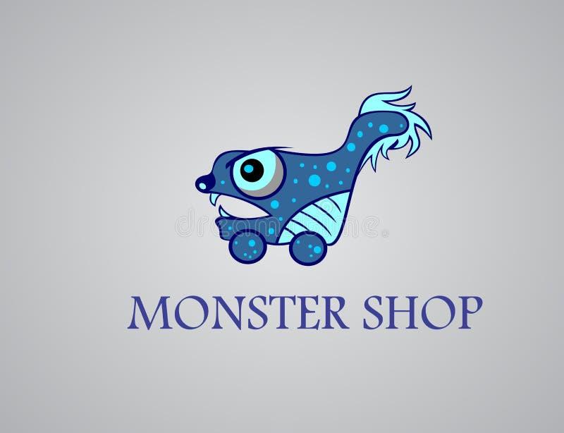 Het monster van het voorraadembleem het winkelen beeldverhaal vector illustratie