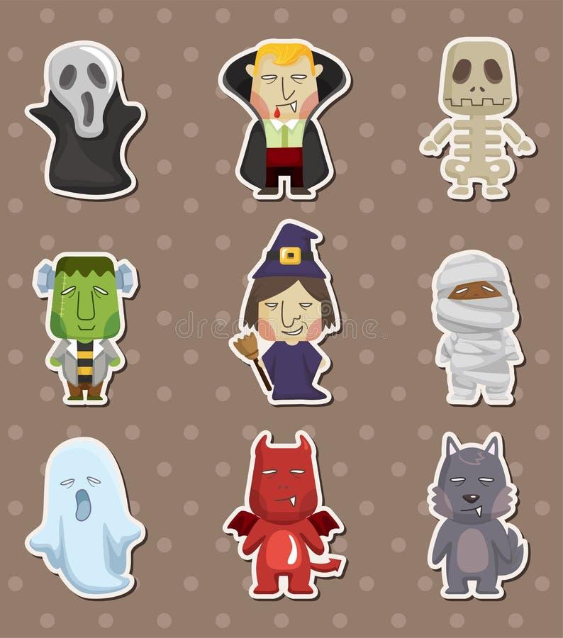 Het monsterstickers van Halloween van het beeldverhaal royalty-vrije illustratie