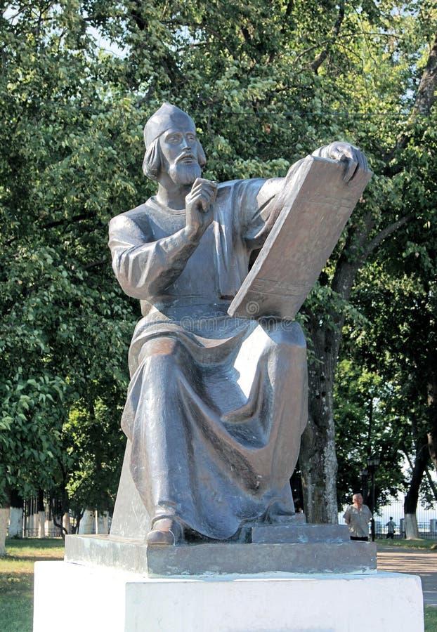 Het monument aan Andrei Rublev, Russische pictogramschilder van de 15de eeuw stock foto's