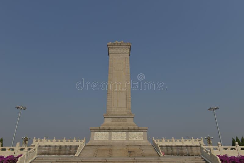 Het Monument aan de Mensenhelden in Tiananmen-Vierkant in Peking China stock afbeeldingen