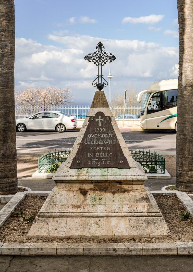 Het monument aan de militairen van Napoleon ` s, Stella Maris Monastery, Haifa stock fotografie