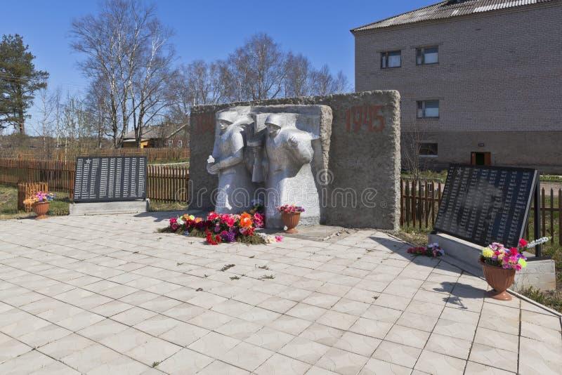 Het monument aan die doodde op de voorzijden van de Grote Patriottische Oorlog in het dorp van Morozovo, Verkhovazhsky-district,  royalty-vrije stock afbeelding