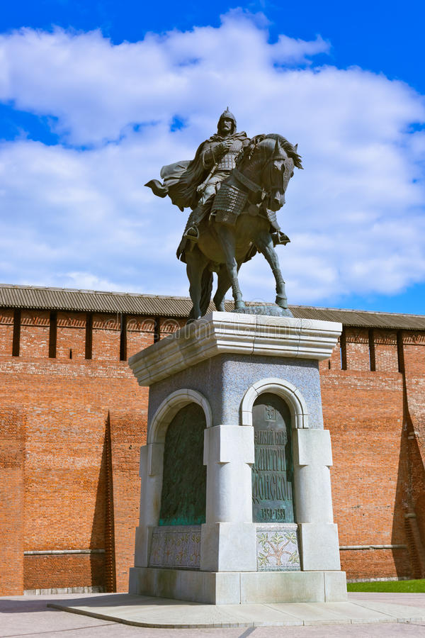Het monument aan Dmitry Donskoy in Kolomna het Kremlin in regi van Moskou royalty-vrije stock foto's