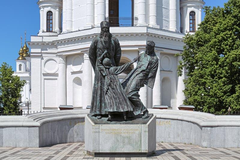 Het monument aan geestelijkheid en leken doodde in 1922 in Shuya, Ivanovo Oblast, Rusland royalty-vrije stock afbeelding