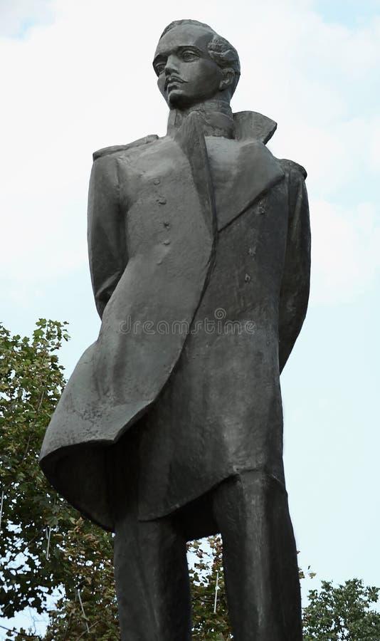 Het monument aan Mikhail Yuryevich Lermontov stock afbeeldingen