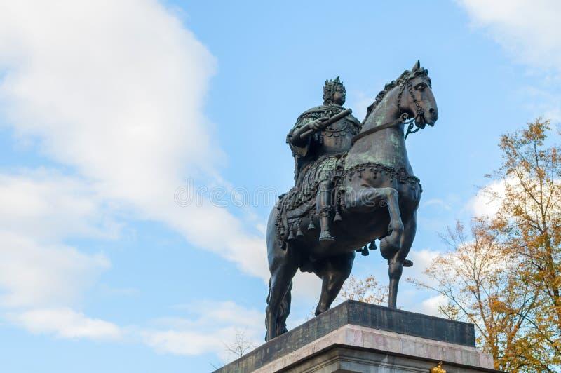 Het Monument aan Peter I, bronst ruitermonument van Peter Groot in St. Petersburg, Rusland stock foto's