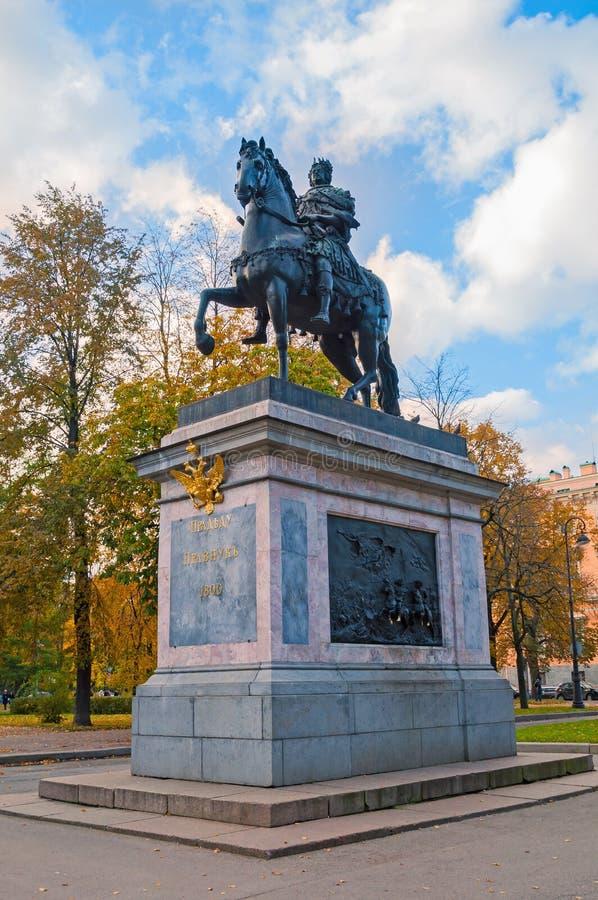 Het monument aan Peter I, bronst ruitermonument van Peter Groot St Petersburg, Rusland stock foto