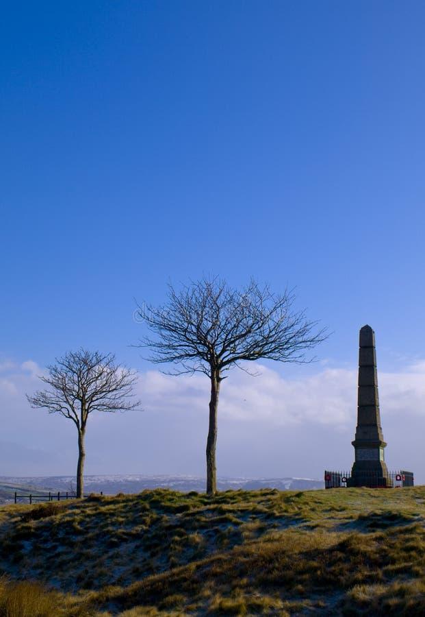 Het Monument en de Bomen van de oorlog op Horizon in Dawn royalty-vrije stock afbeelding