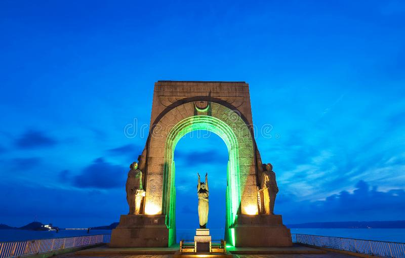Het monument gelegen aan corniche in Marseille, Frankrijk wijdde aan de doden van het Oostelijke Leger en het verre land stock foto