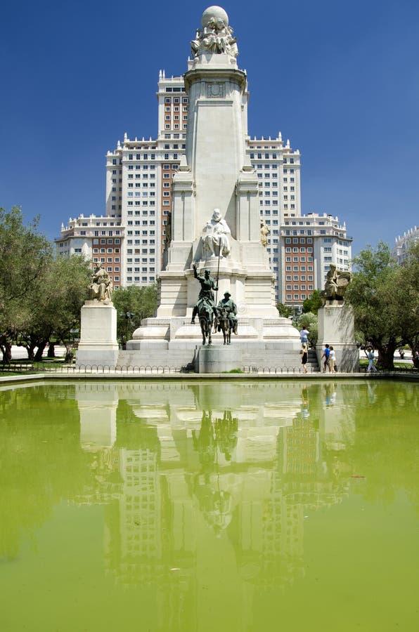 Het monument van Cervantes in Madrid royalty-vrije stock afbeelding