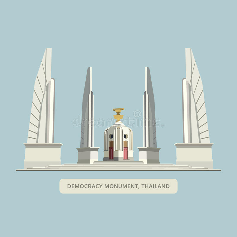 Het monument van de democratie, Bangkok, Thailand oriëntatiepuntvector vector illustratie