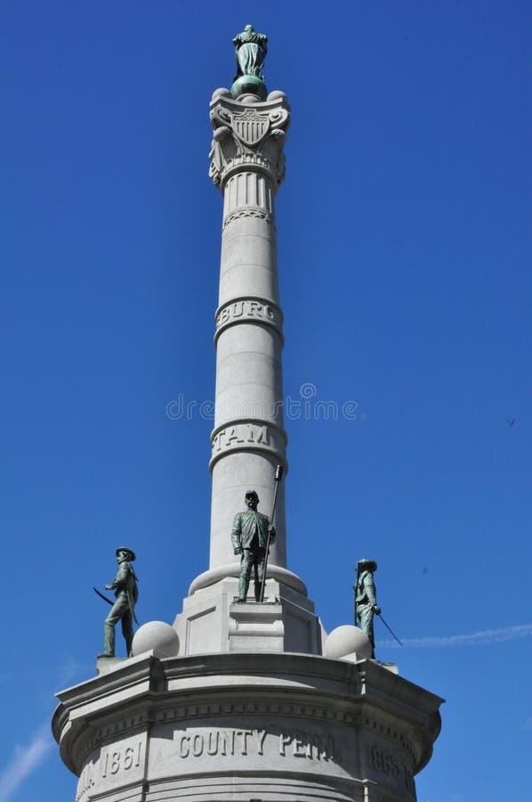 Het monument van de het Gerechtsgebouw Burgeroorlog van de Lackawannaprovincie, Scranton, Pennsylvania stock foto's