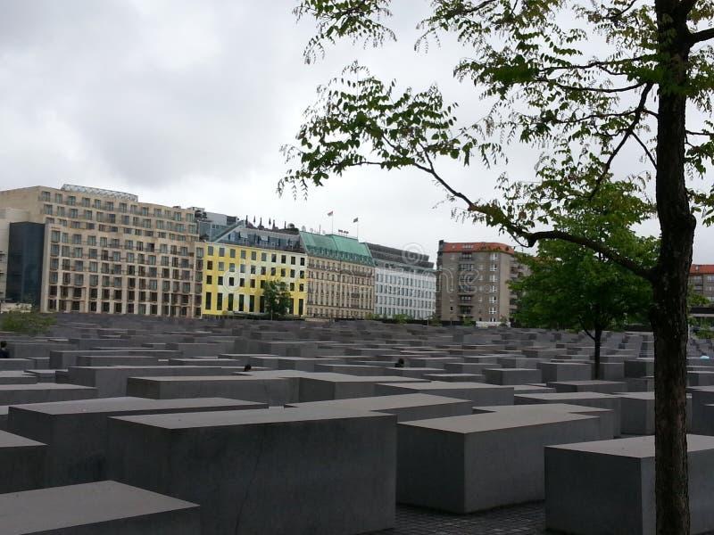 Het monument van de holocaust in Berlijn stock fotografie