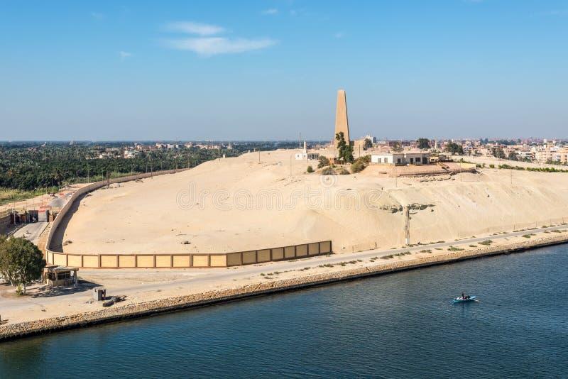 Het Monument van de het Kanaaldefensie van Suez in Ismailia, Egypte stock fotografie