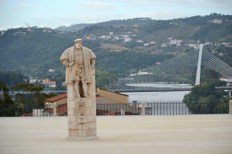 Het monument van de koning Joao III stock foto's
