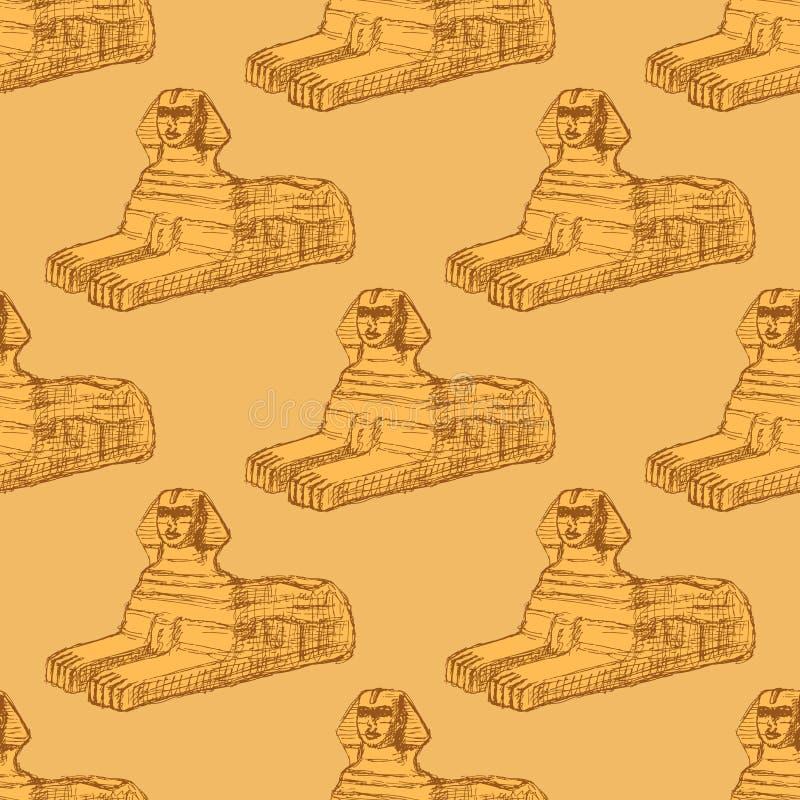 Het monument van de schetssfinx in uitstekende stijl royalty-vrije illustratie