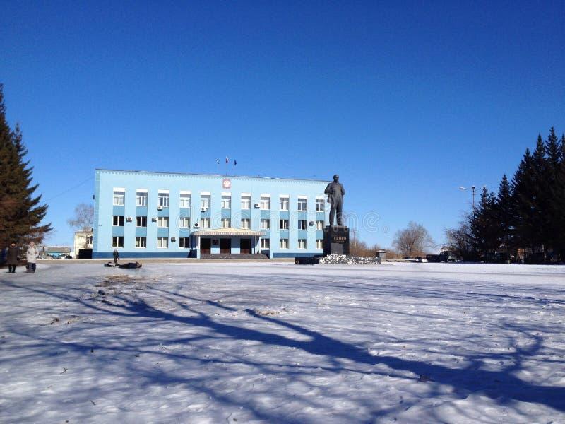 Het monument van Lenin in Siberische stad stock foto