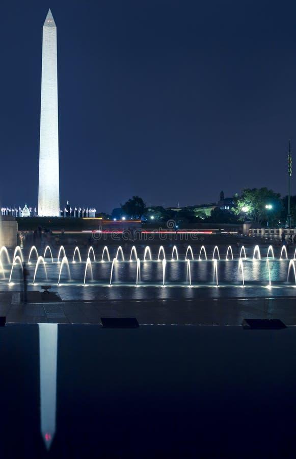 Het Monument van Washington, gelijkstroom, bij Nacht stock afbeelding