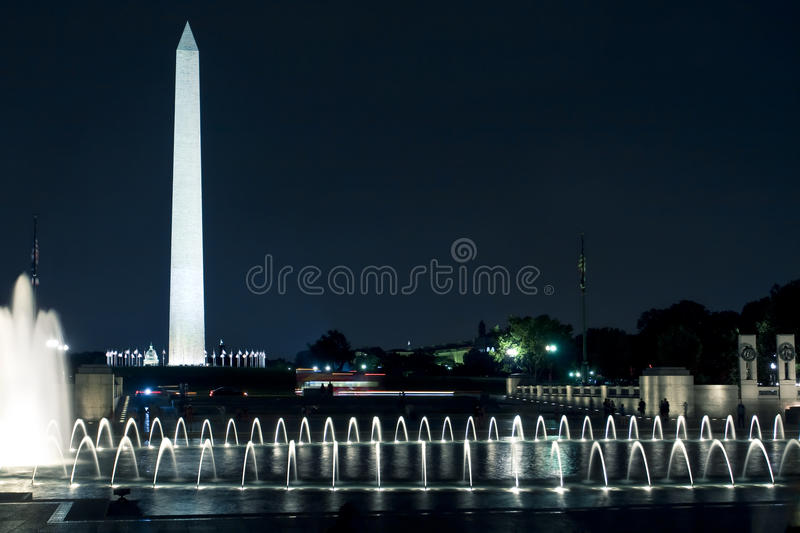 Het Monument van Washington, gelijkstroom, bij Nacht stock fotografie