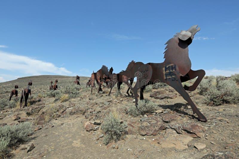 Het Monument van wild paarden stock fotografie