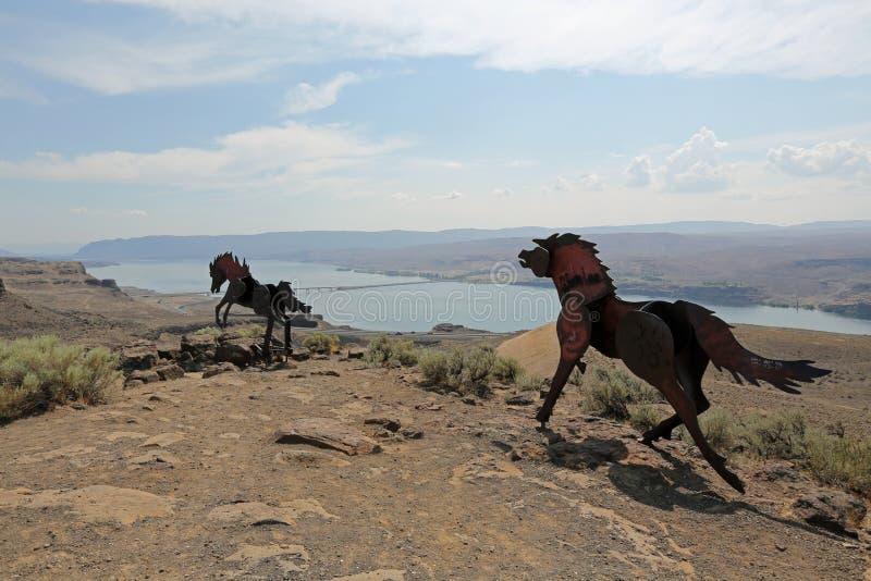 Het Monument van wild paarden royalty-vrije stock foto's