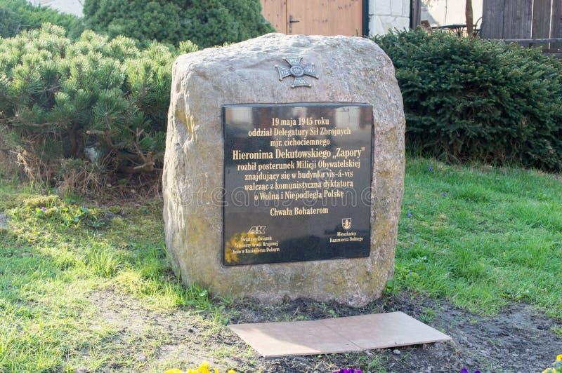 Het monument voor herdenking van de strijd met Burgers` Militie door belangrijk Hieronim Dekutowski bij 19 kan 1945 stock afbeelding