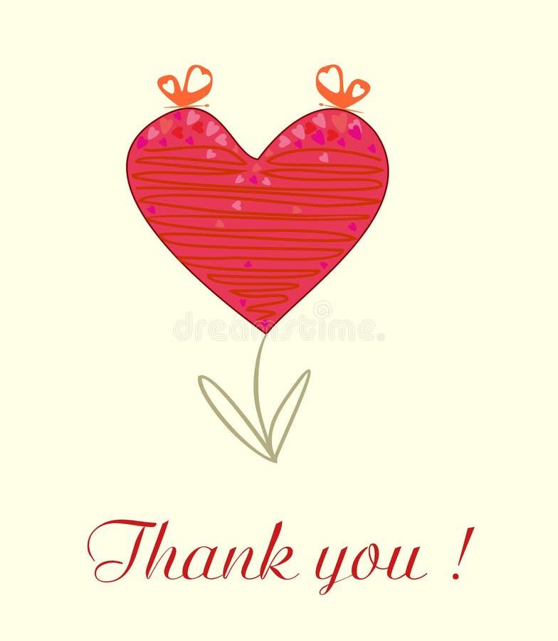 Het mooie achtergrondverstand abstracte hart dankt u vector illustratie