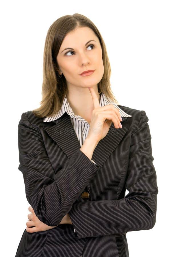 Het mooie bedrijfsvrouw denken. Geïsoleerdo op wit royalty-vrije stock afbeelding