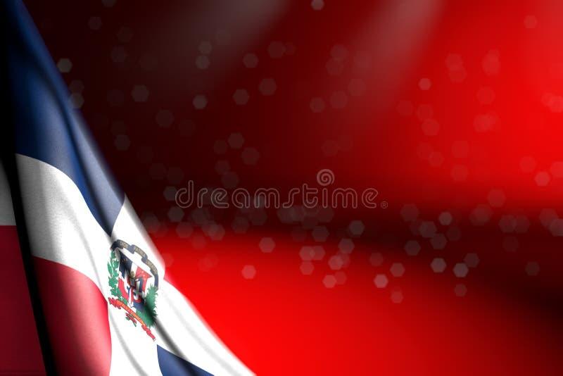 Het mooie beeld van de vlag van de Dominicaanse Republiek hangt diagonaal op rood met selectieve nadruk en lege plaats voor uw in stock illustratie