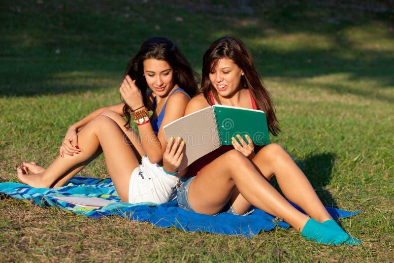 Het mooie Bestuderen van de Tieners van de Universiteit stock afbeeldingen