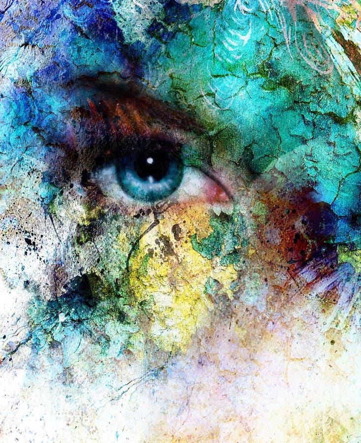 Het mooie blauwe vrouwenoog richten, het ritseleneffect van de kleurenwoestijn, het schilderen collage stock illustratie