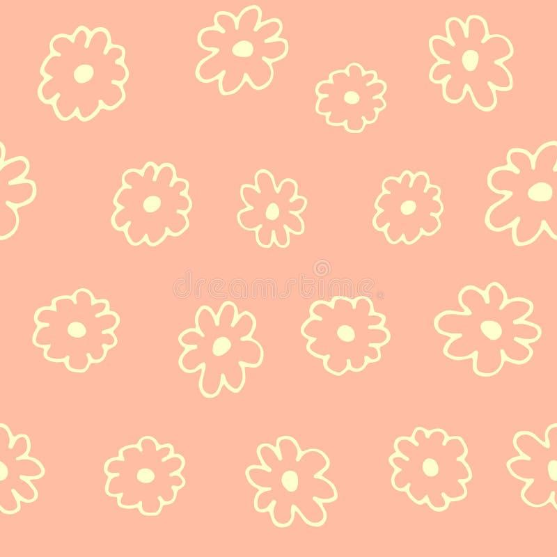 Het mooie bloemen naadloze patroon met getrokken hand bloeit, kleurrijk de lenteontwerp, zachte roze achtergrond stock illustratie