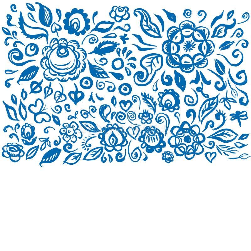Het mooie bloemenornament van de kaart volkskunst op witte achtergrond Uitstekende elegante huwelijksuitnodiging met de zomer blo royalty-vrije illustratie