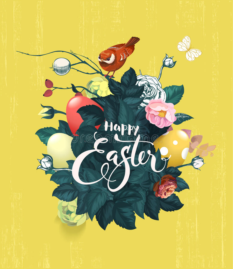 Het mooie boeket van de lente bloeit, groene bladeren en verfraaide paaseieren, tekst met de hand geschreven met kalligrafische d royalty-vrije illustratie