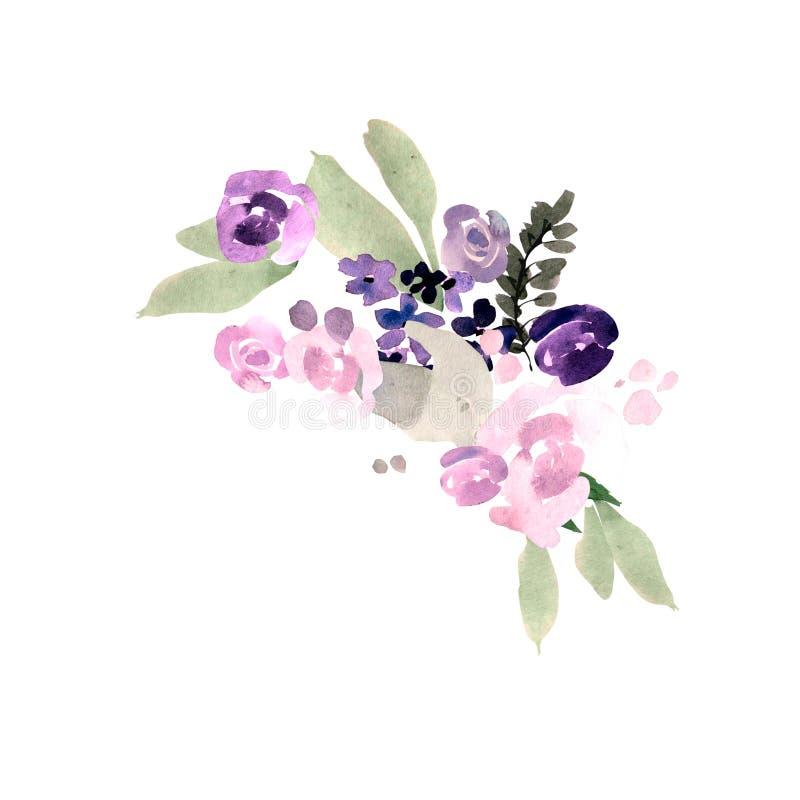Het mooie boeket van het waterverfhuwelijk met purpere bloemen stock illustratie