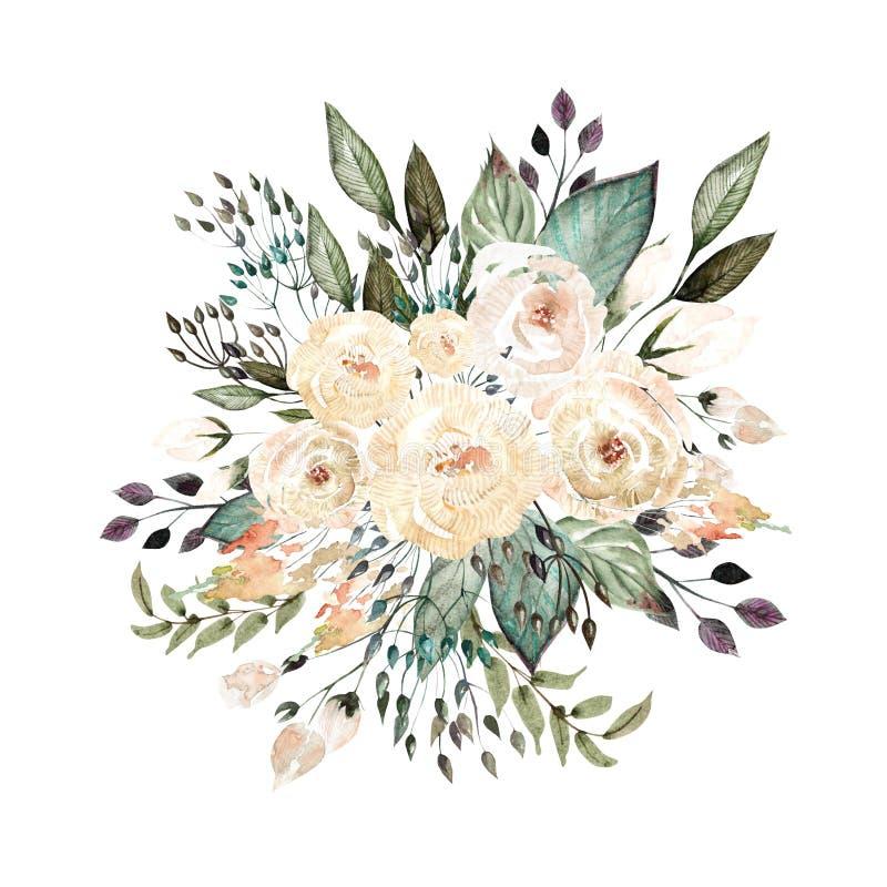 Het mooie boeket van het waterverfhuwelijk met rozen en eucalyptus, bladeren stock afbeelding