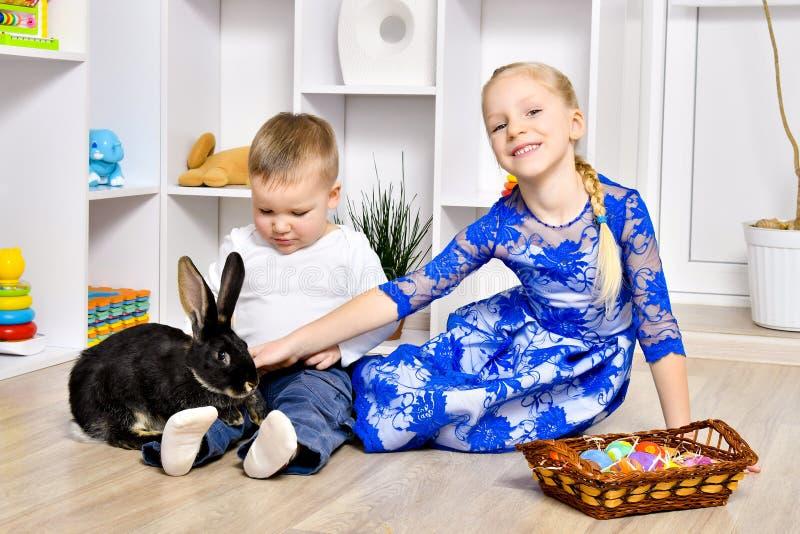 Het mooie broer en zuster spelen met een konijn stock afbeeldingen