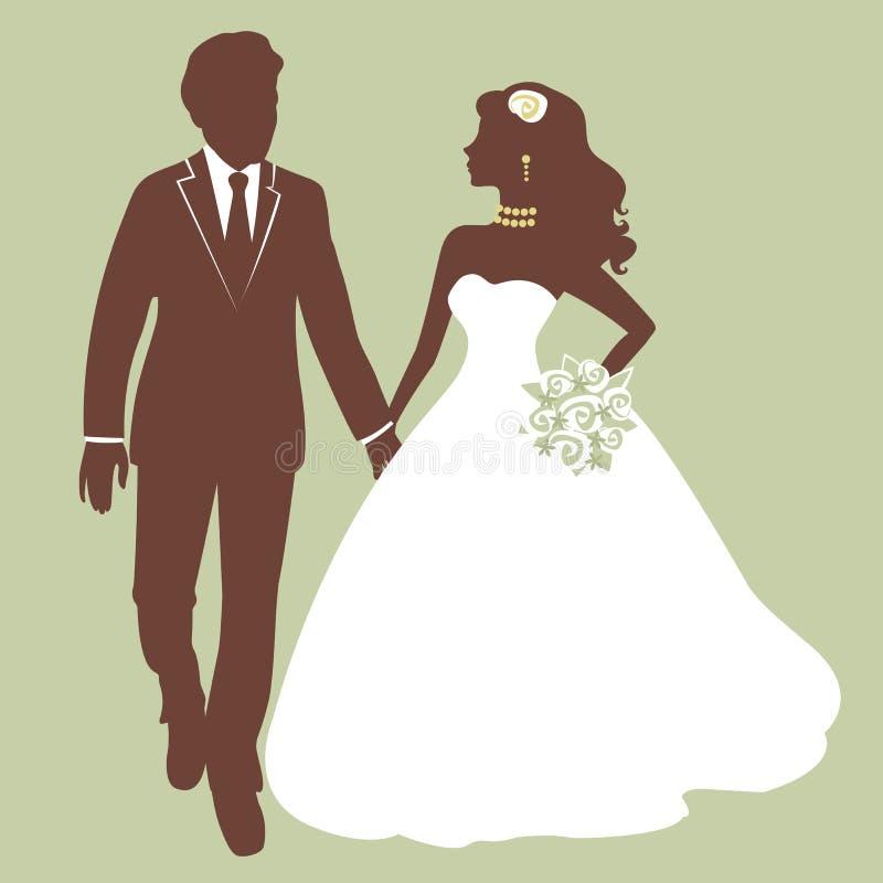 Het mooie bruid en bruidegom lopen royalty-vrije illustratie